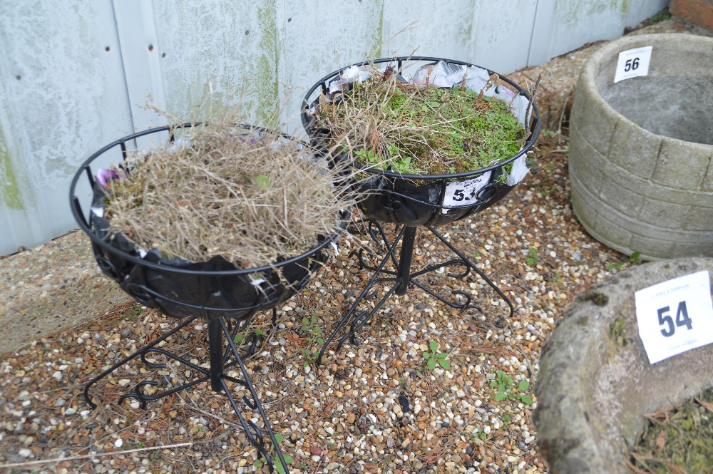 Lot 53 - 2x metal garden planters, 45cm