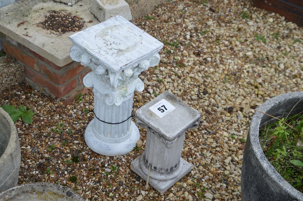 Lot 57 - 2x pre-cast garden pedestals, one 49cm the other 3