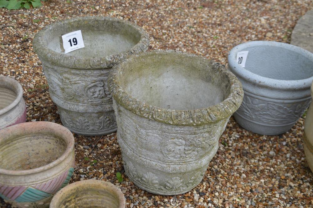 Lot 19 - 2x pre-cast planters, approx. 32cm