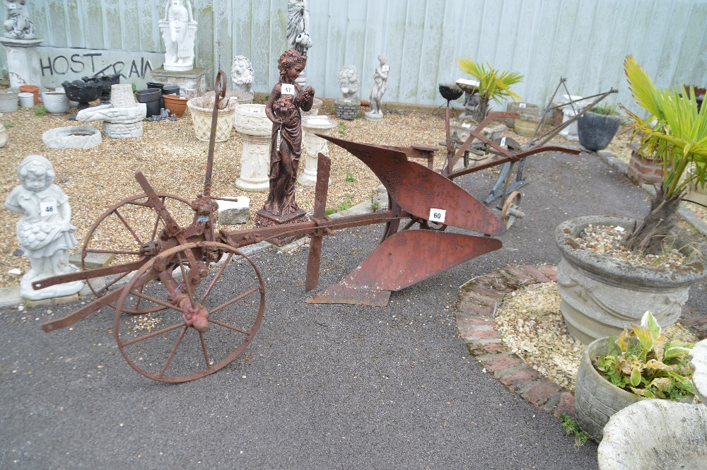 Lot 60 - A single furrow horse plough