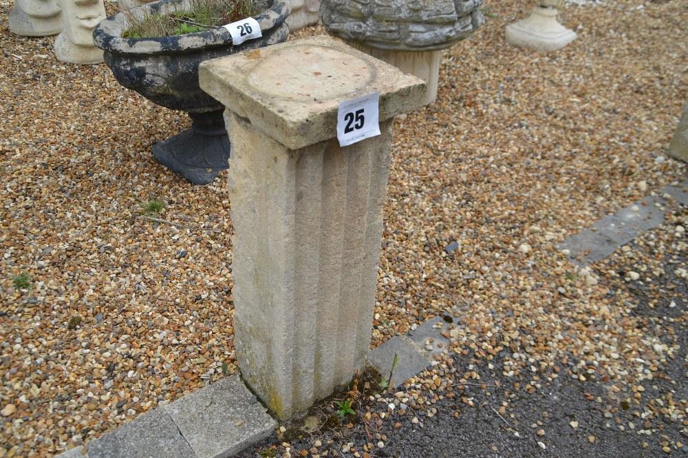 Lot 25 - 2x sandstone pedestals, 58cm each