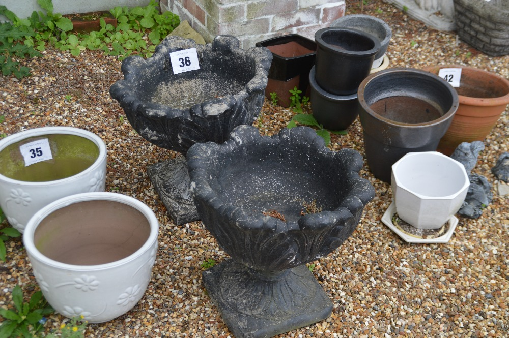 Lot 36 - 2x planters - painted, approx. 40cm