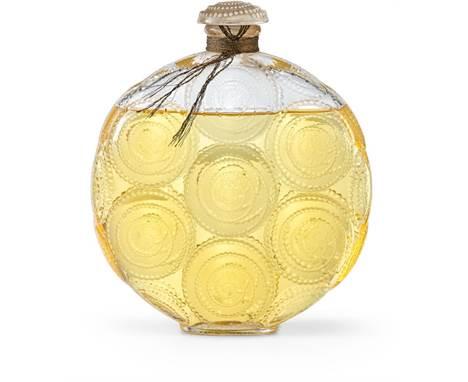 """Perfumflakon """"Relief"""" für Forvil   Lalique, France, 1920er/30er Jahre Farbloses Glas, gepresst. Runde, abgeflachte Form mit S"""