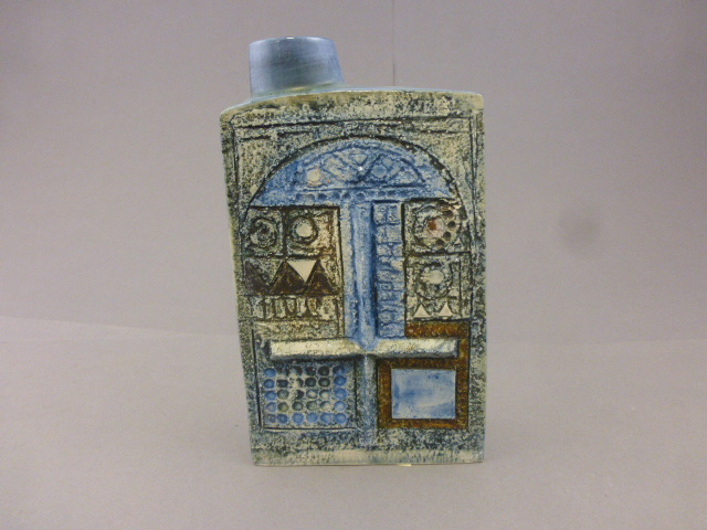Lot 6 - Troika Chimney Vase with blue ground absract design marked to base Troika, Cornwall, England, AL (