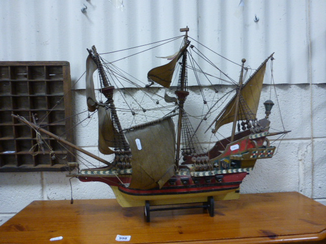 Lot 59 - A wooden model ship of the Golden Hind
