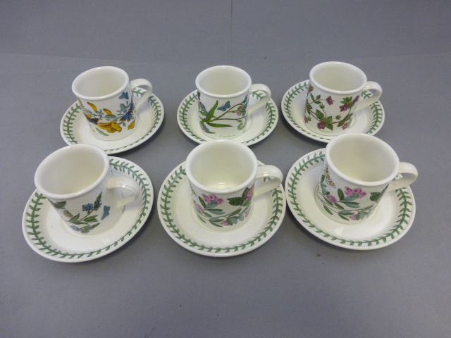 Lot 53 - Set of Six Portmeirion Botanic Garden Coffee Cups and Saucers