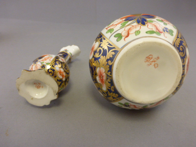 Lot 10 - Pair of Derby Imari Patterned Ewers and a Pair of similar Bottle Vases