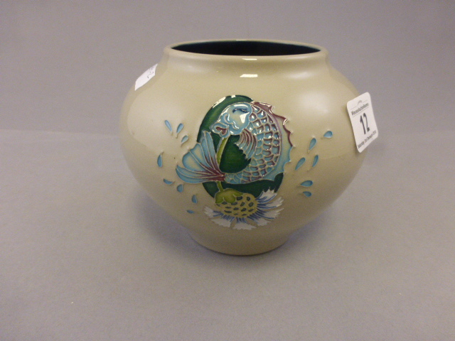 Lot 12 - Moorcroft squat vase with fish and flower