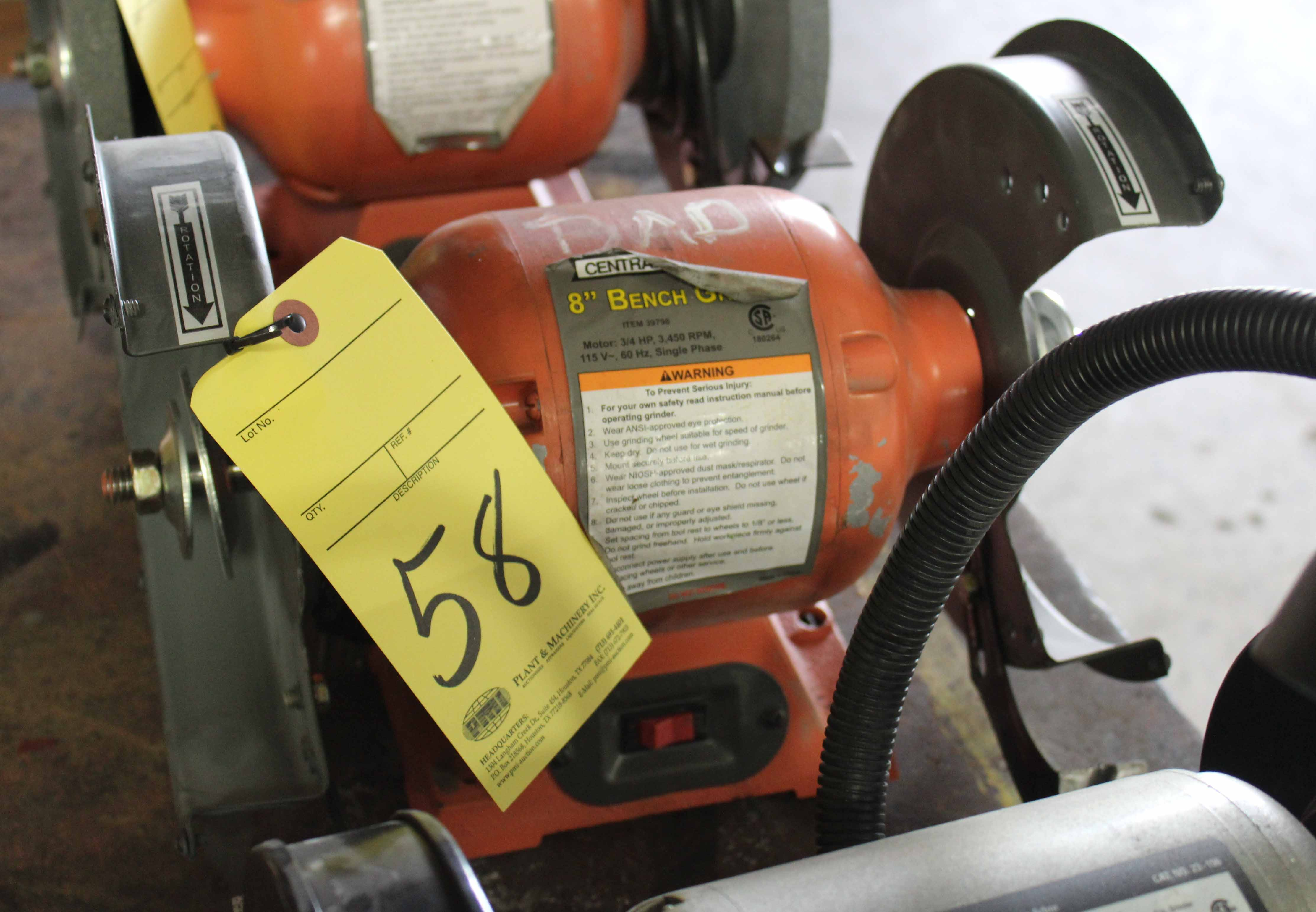 """Lot 58 - BENCH GRINDER, CENTRAL 8"""" (not in working condition)"""