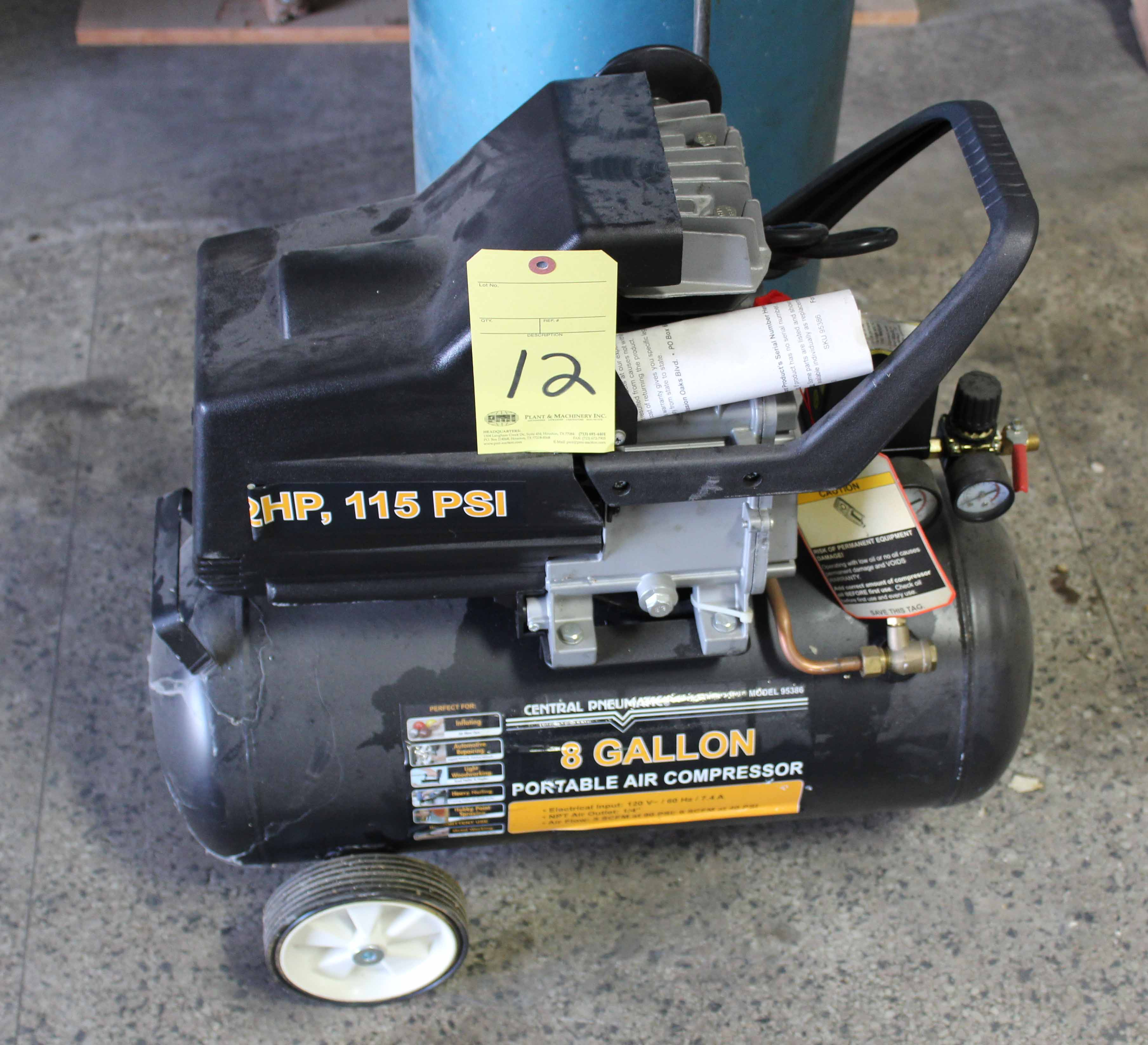 Lot 12 - PORTABLE AIR COMPRESSOR, CENTRAL PNEUMATIC, elec. pwrd., 2 HP motor, 8 gal. horiz. tank