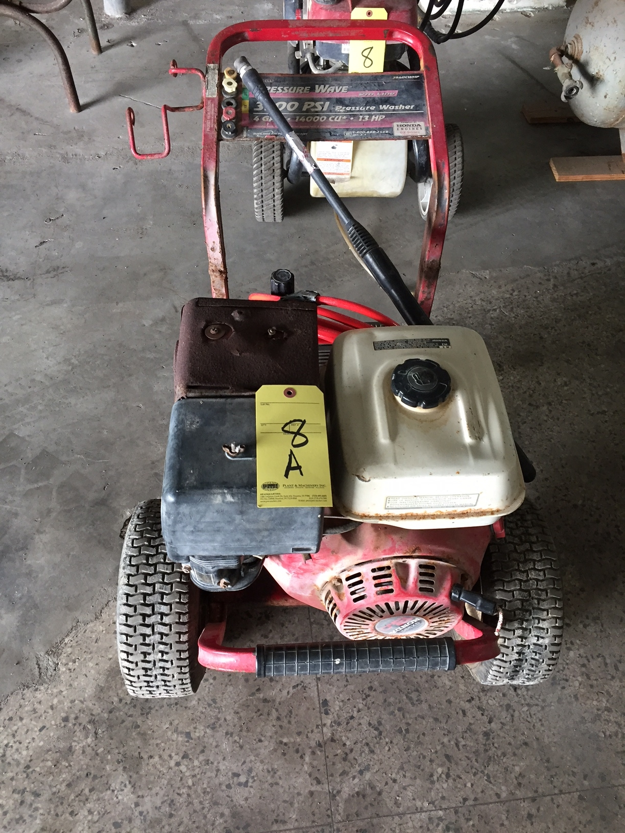 Lot 8A - PRESSURE WASHER, HONDA, PRESSURE WAVE 3500 PSI, eng GX390