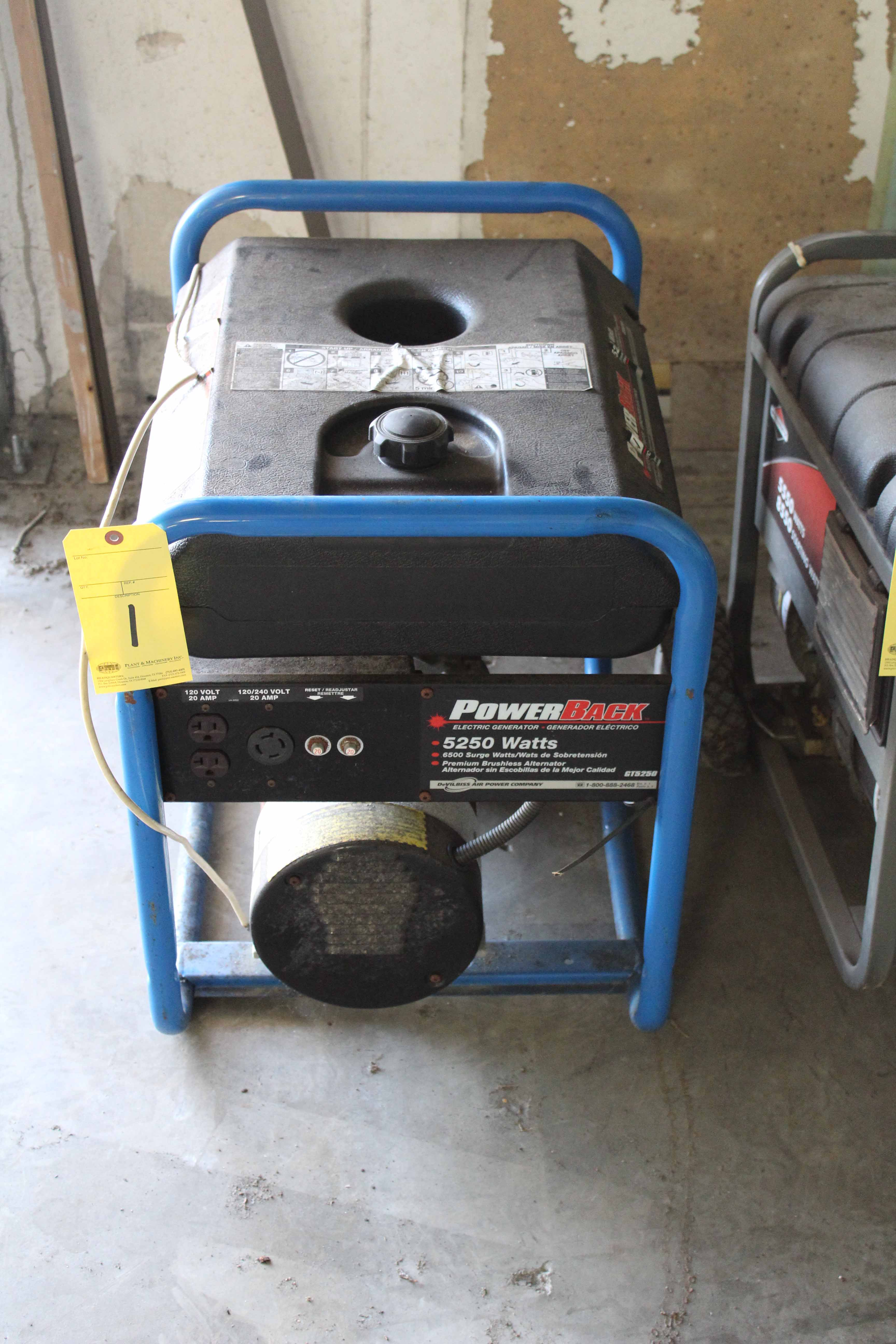 Lot 1 - PORTABLE GENERATOR, POWERBACK, 5,250 watt, gasoline pwrd.
