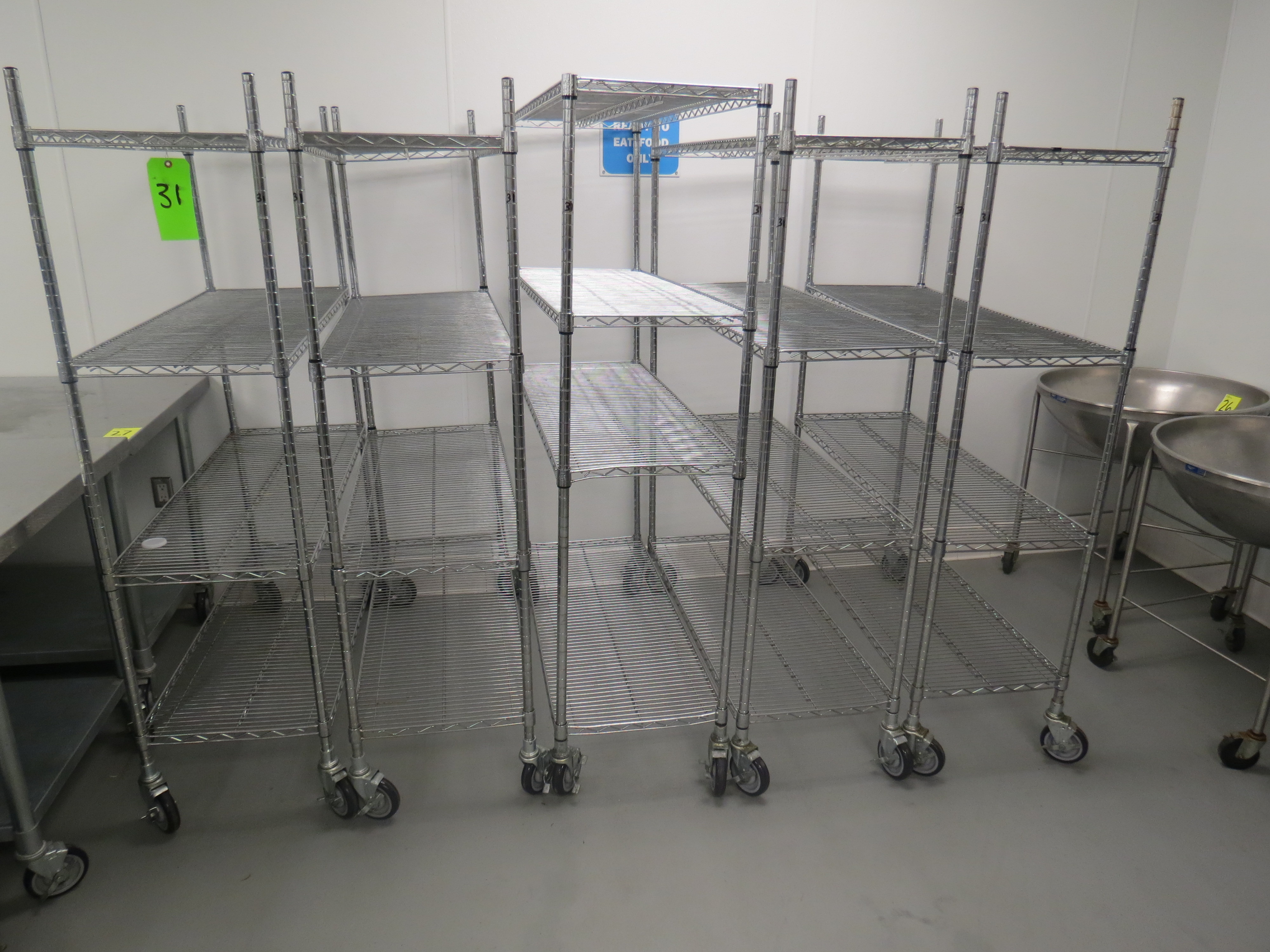 Lot 31 - ASSORTED CHROME MOBILE WIRE RACKS