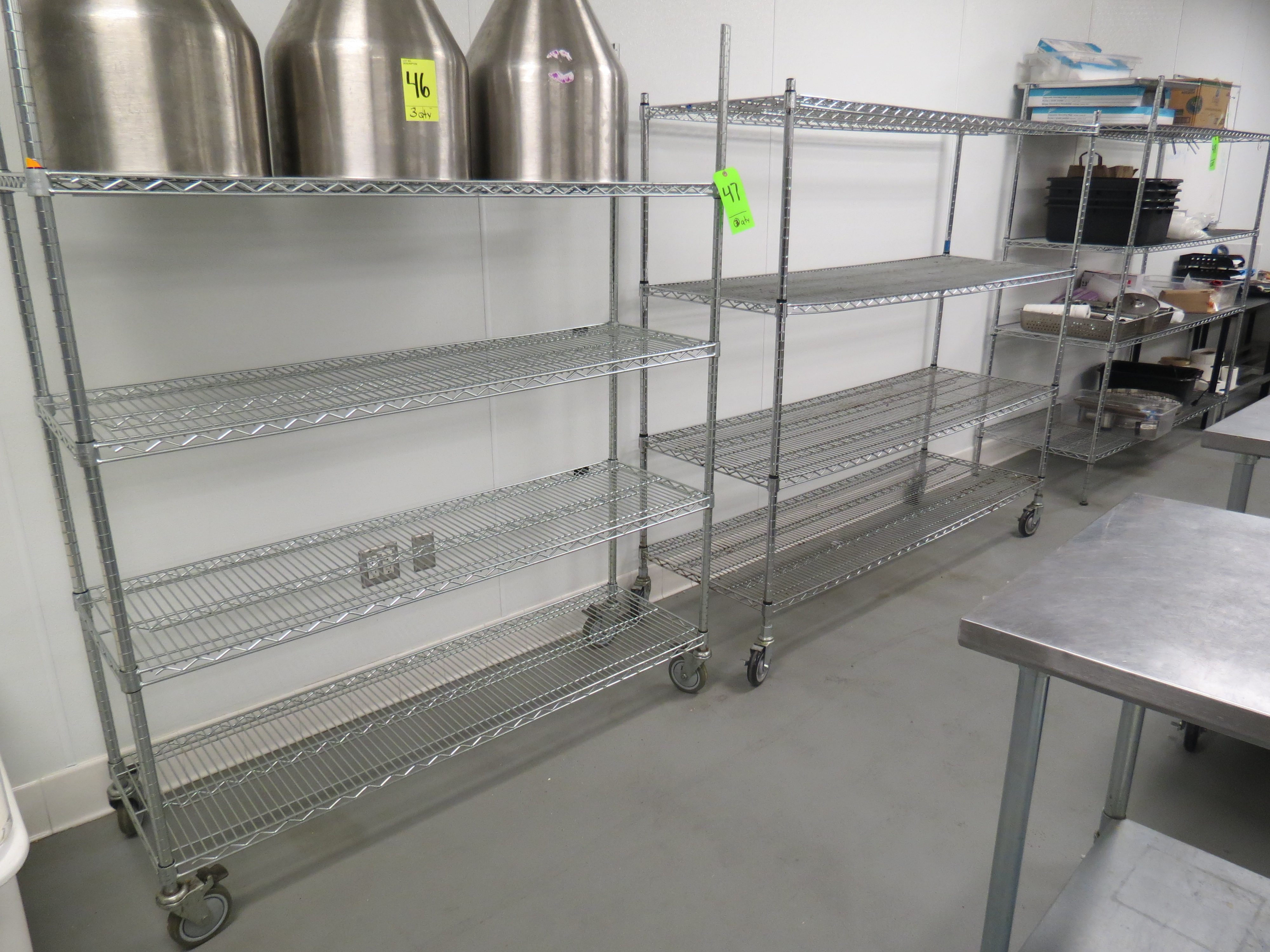 Lot 47 - ASSORTED CHROME MOBILE WIRE RACKS