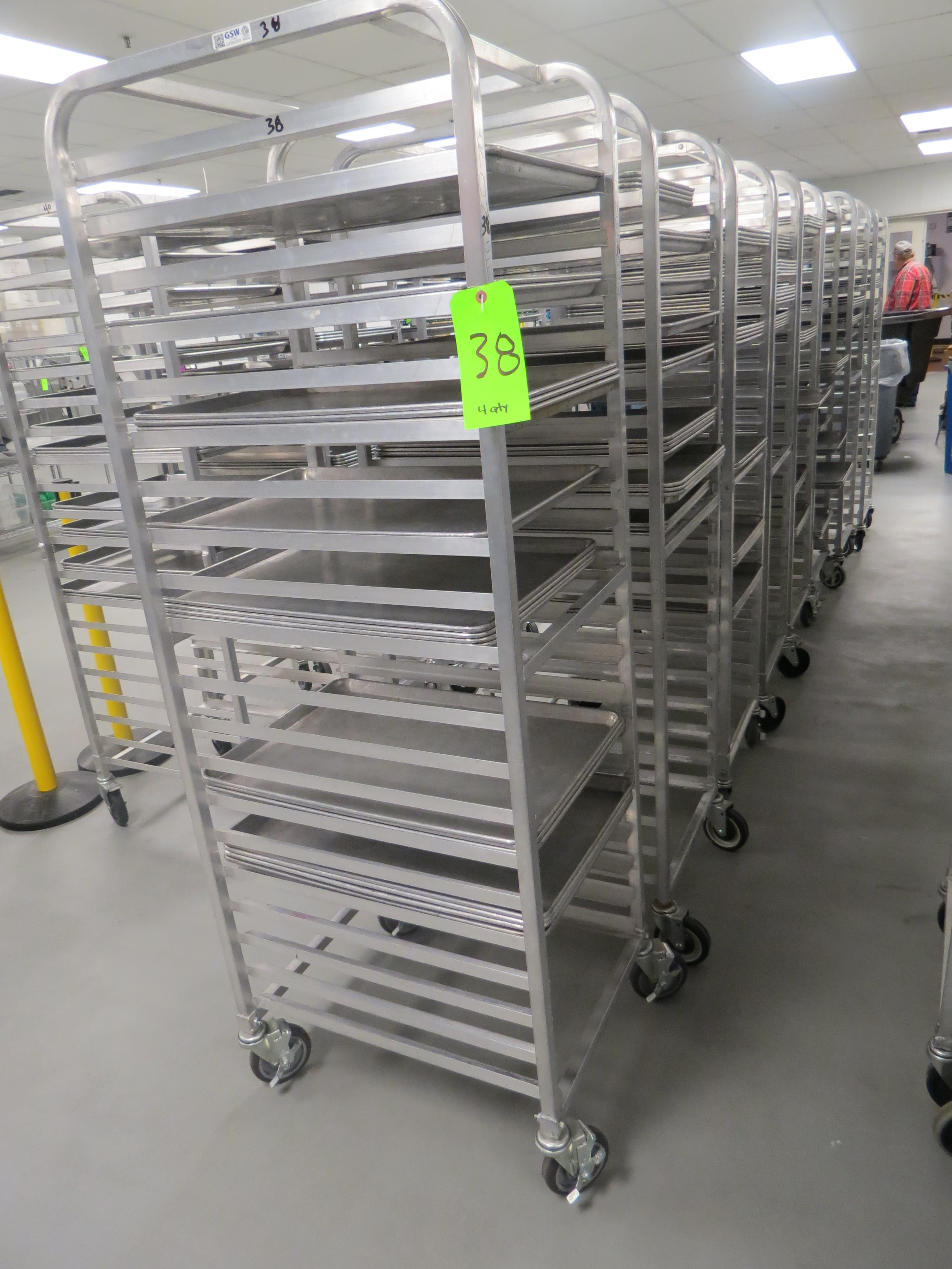 Lot 38 - MOBILE BAKER RACKS WITH 18 TRAYS