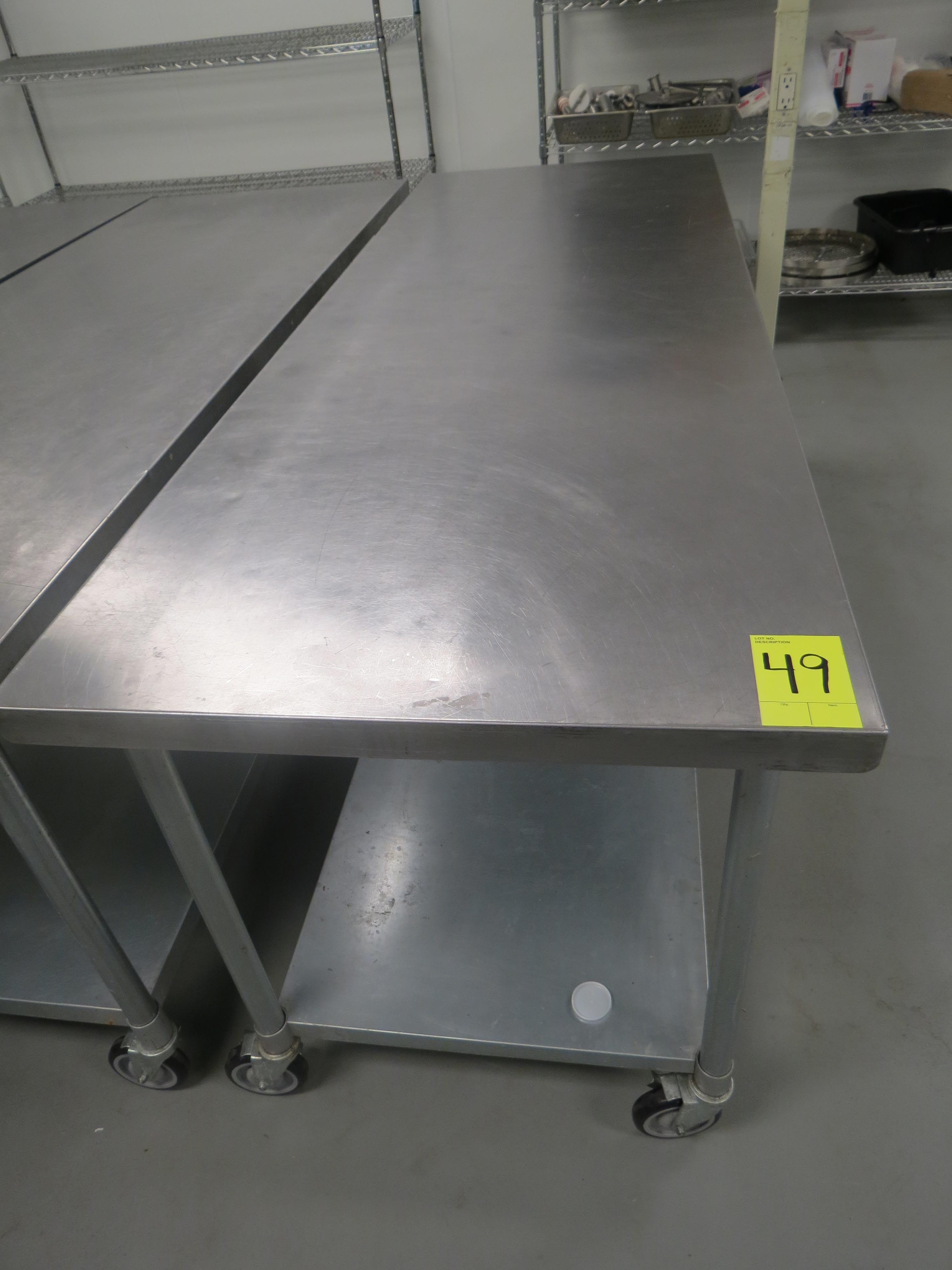 """Lot 49 - STAINLESS STEEL MOBILE PREP TABLE, 30"""" x 84"""""""