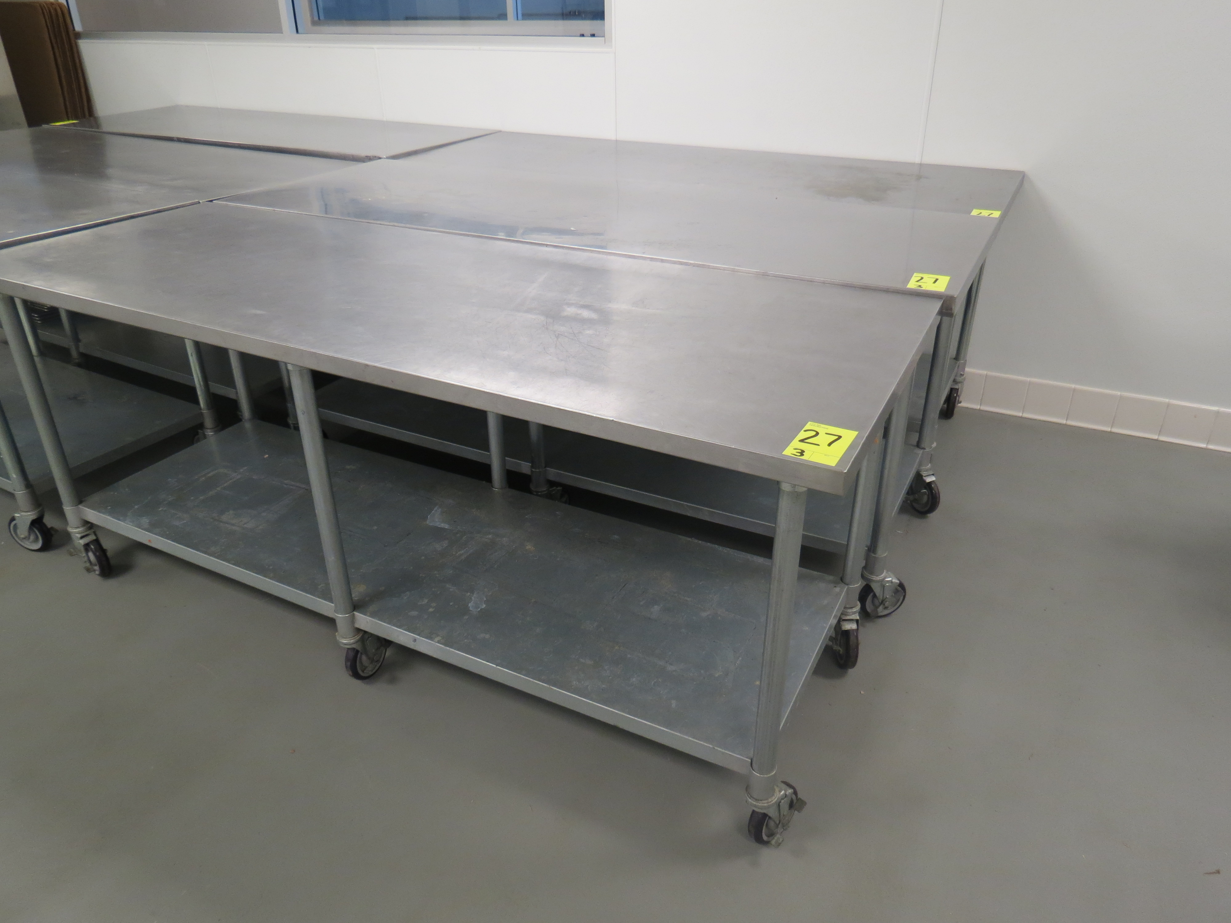 "Lot 27 - STAINLESS STEEL MOBILE PREP TABLES, 30"" x 84"""