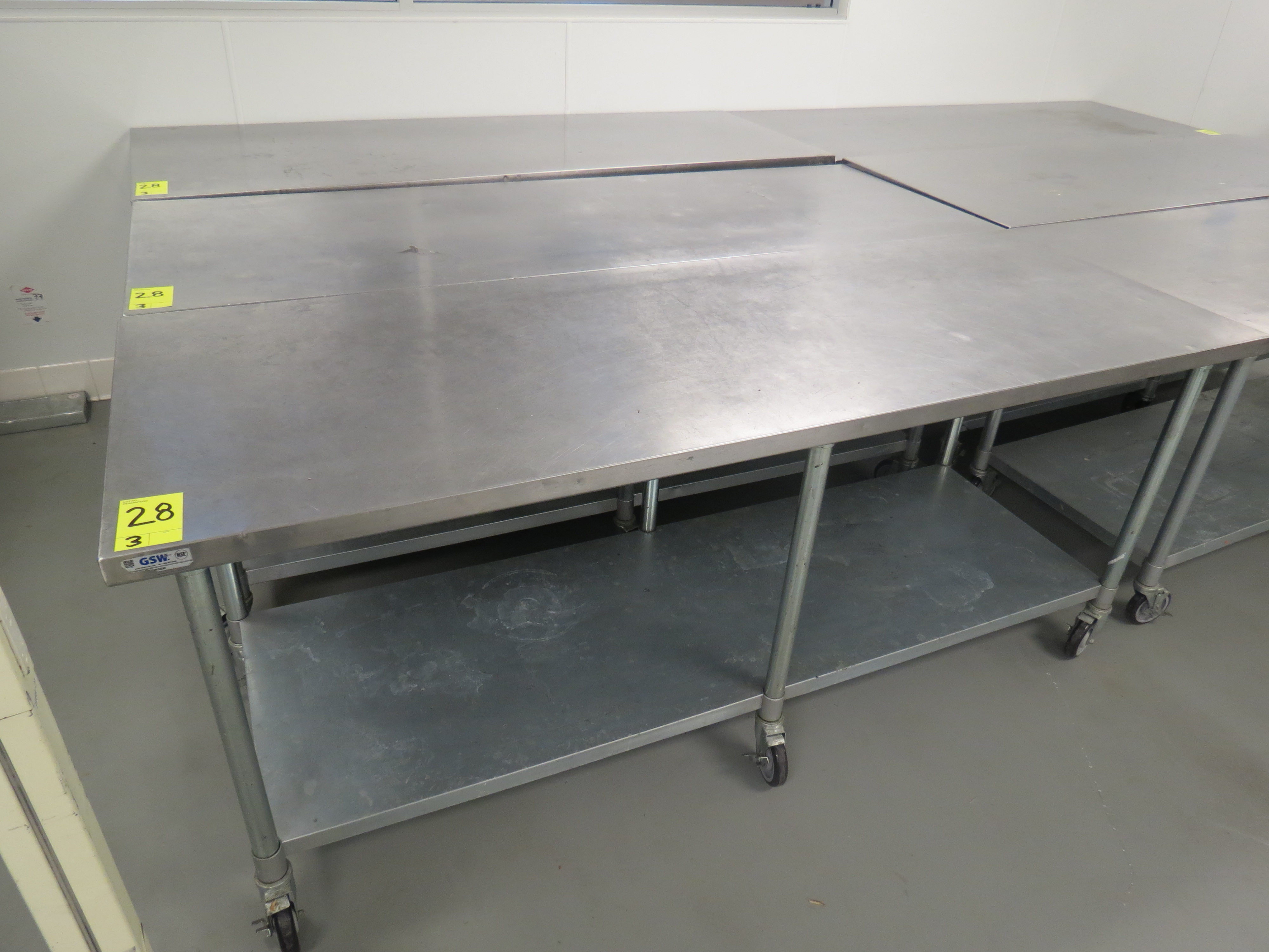 "Lot 28 - STAINLESS STEEL MOBILE PREP TABLES, 30"" x 84"""