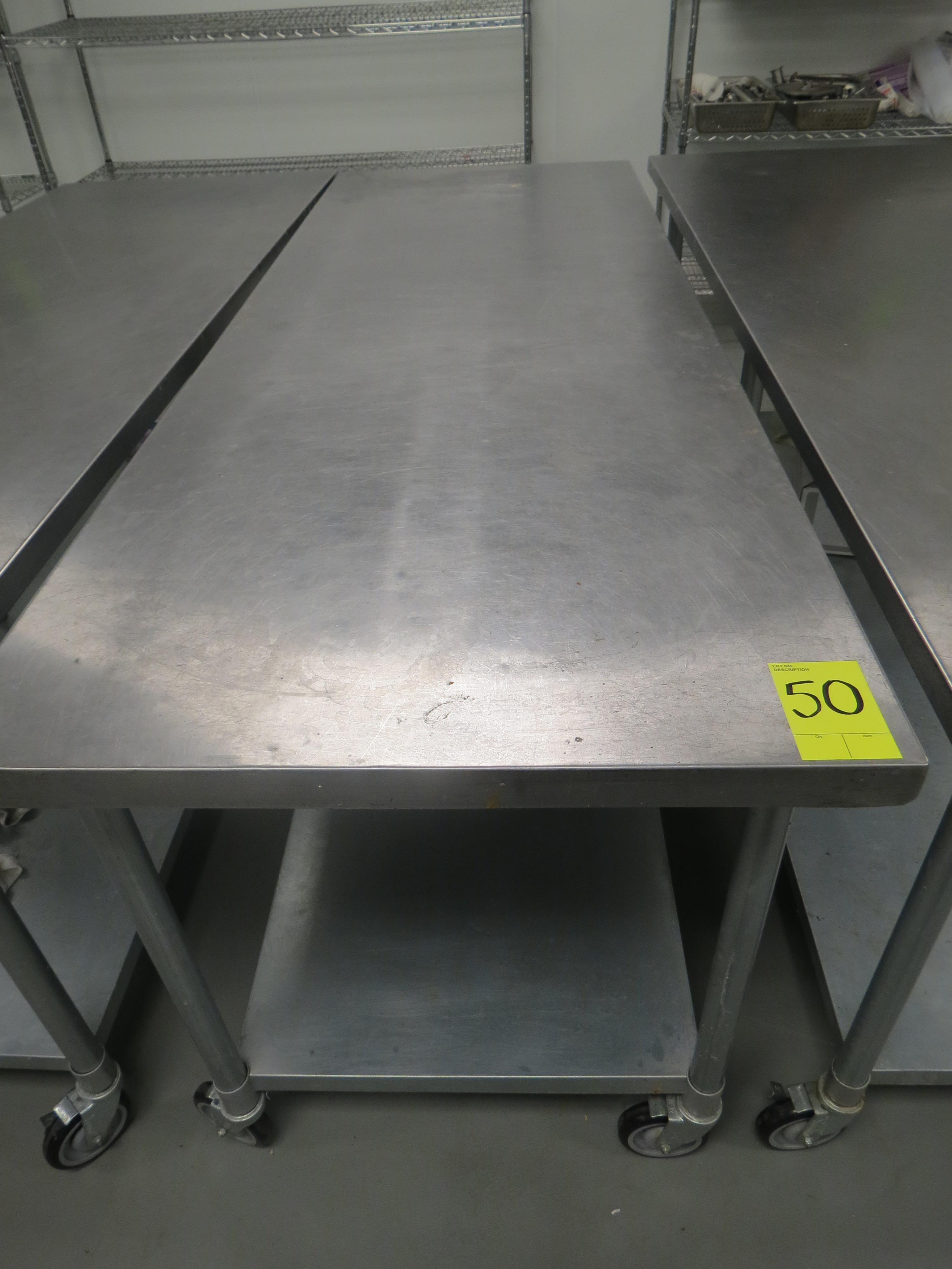 "Lot 50 - STAINLESS STEEL MOBILE PREP TABLE, 30"" x 84"""