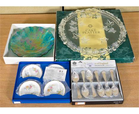 An Art Glass bowl, a platter and some coasters