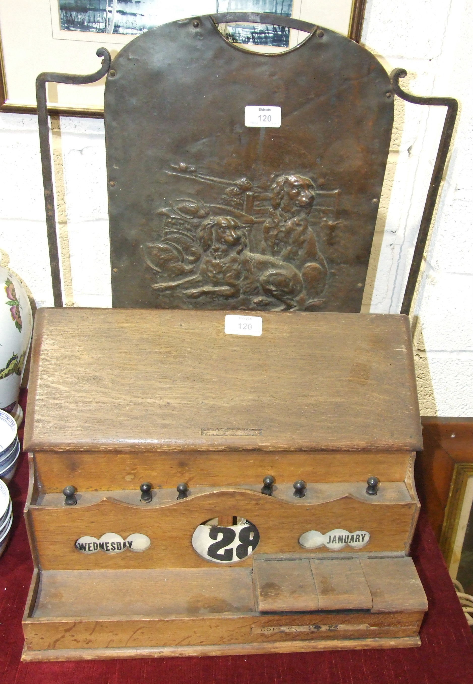 Lot 120 - A late-19th/early-20th century oak stationery/writing box, the hinged lid opening to reveal a letter