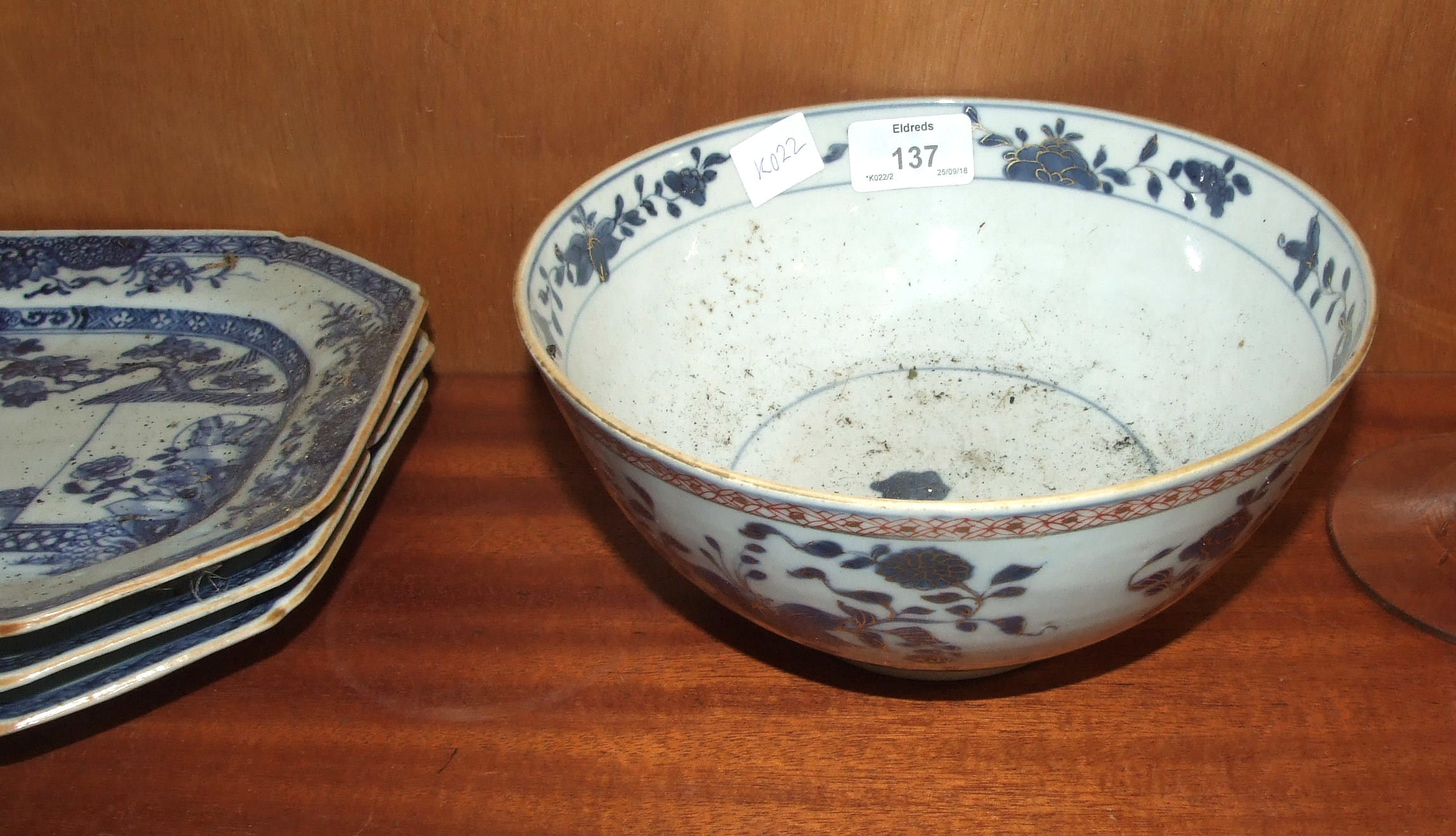 Lot 137 - A late-19th century Chinese porcelain bowl, 21cm diameter and three 19th century octagonal Chinese