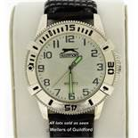 Gentlemen's Slazenger wristwatch, circular silvered dial with Arabic numerals and luminous hands, on