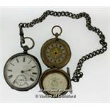 Pocket watch stamped 935 silver, with white enamel dial, Roman numerals and subsidiary seconds dial,