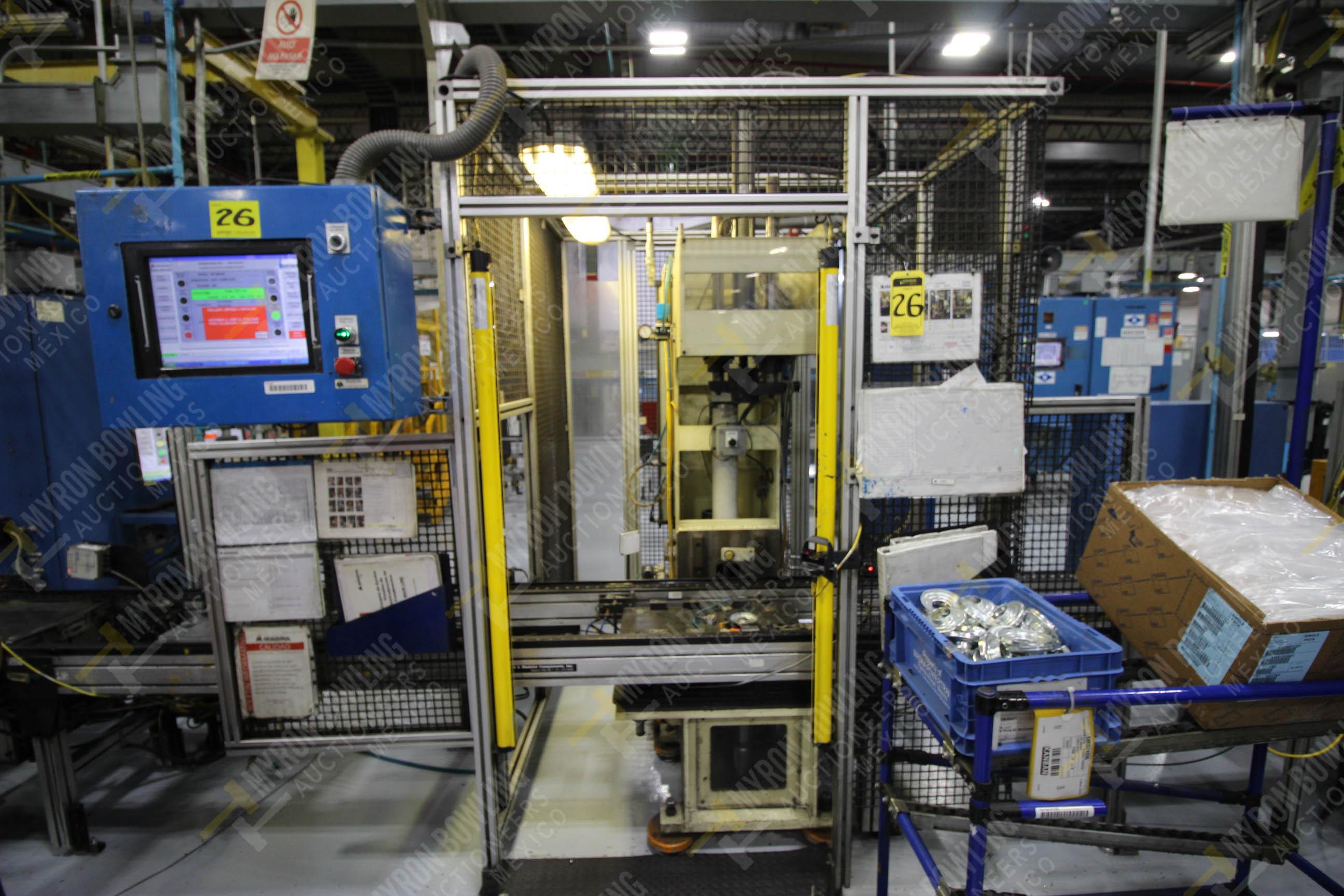 Estación manual para operación 383, contiene: Prensa marca PROMESS en estructura de placa de acero