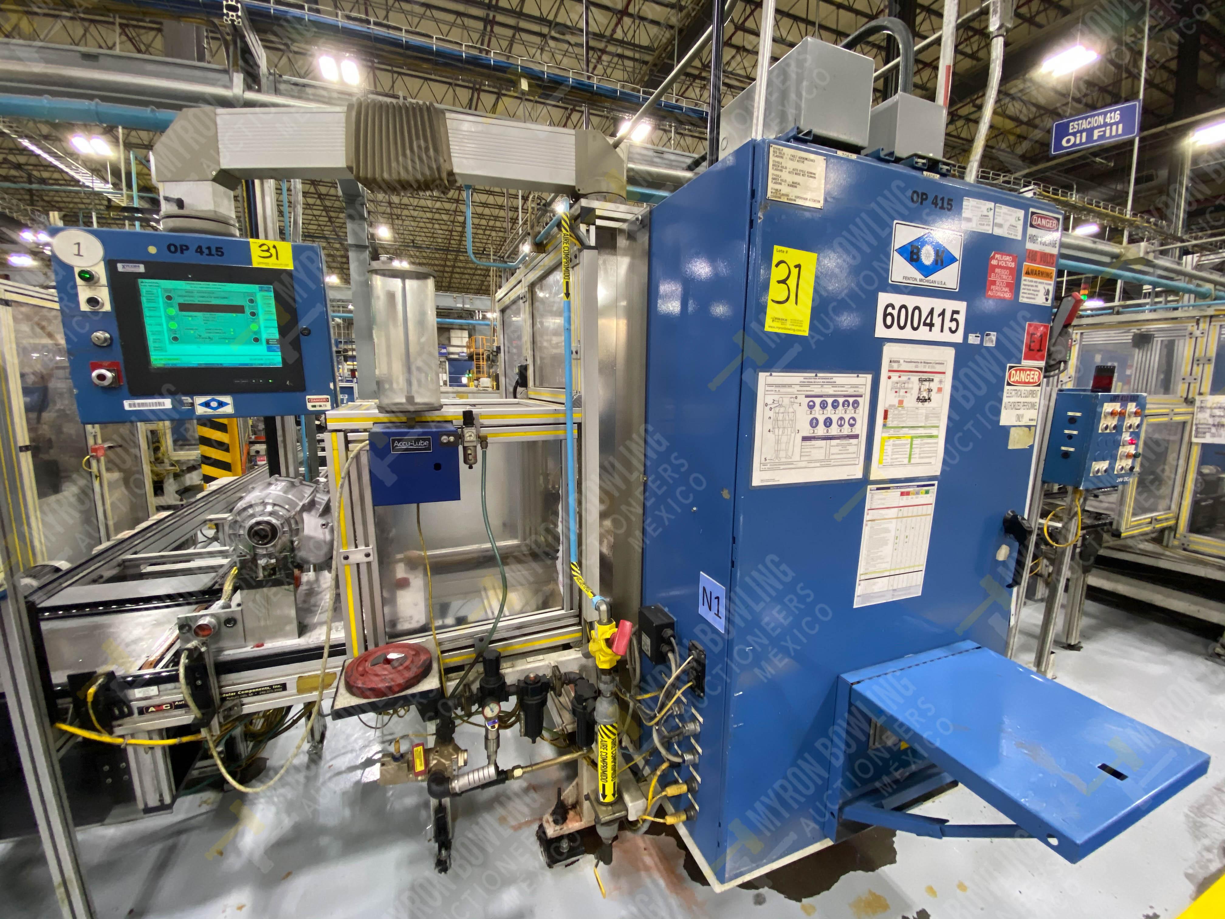 Estación semiautomática para operación 416, contiene: Sistema de llenado de aceite