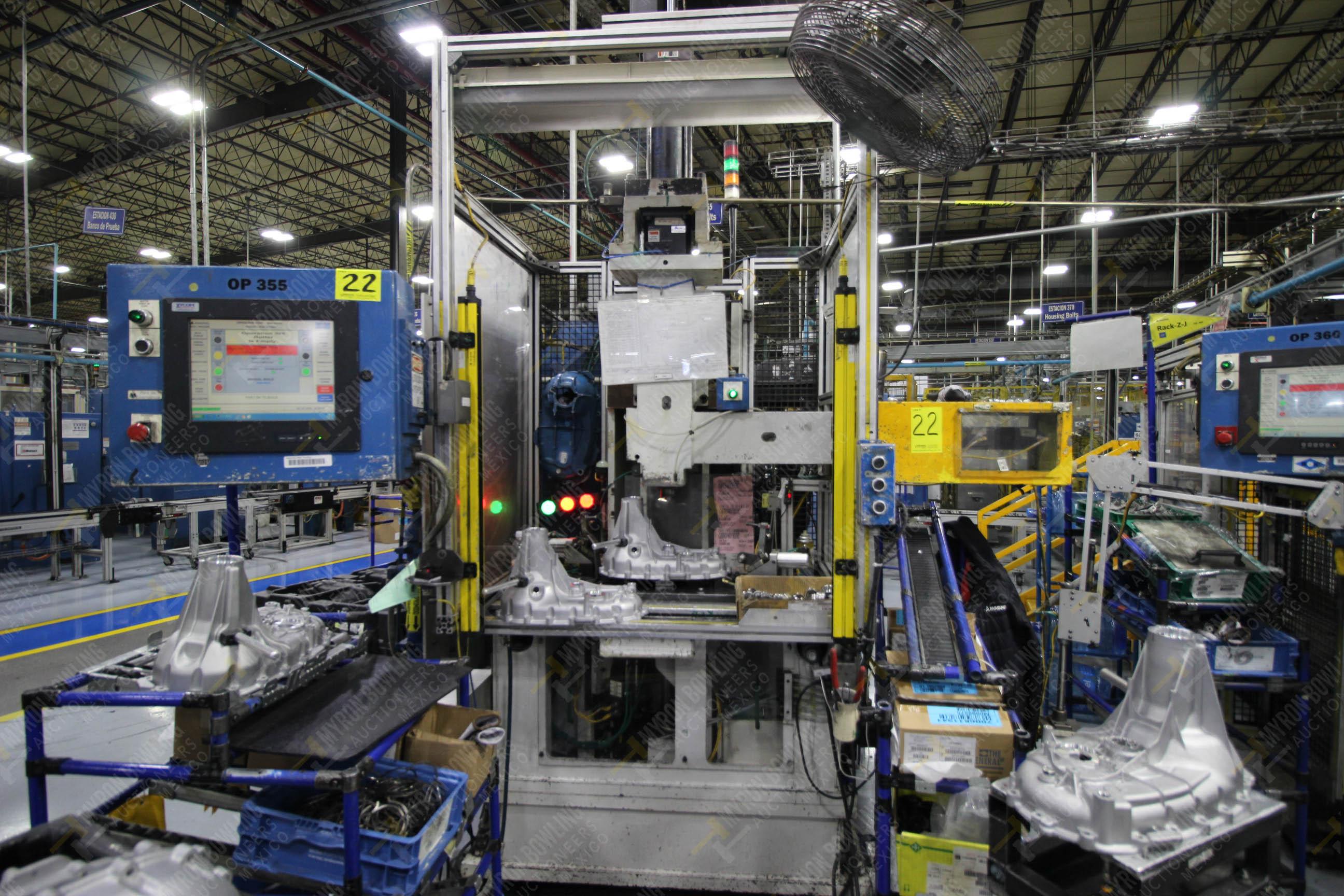 Estación semiautomática para operación 355A, contiene: Prensa en estructura de placa de acero