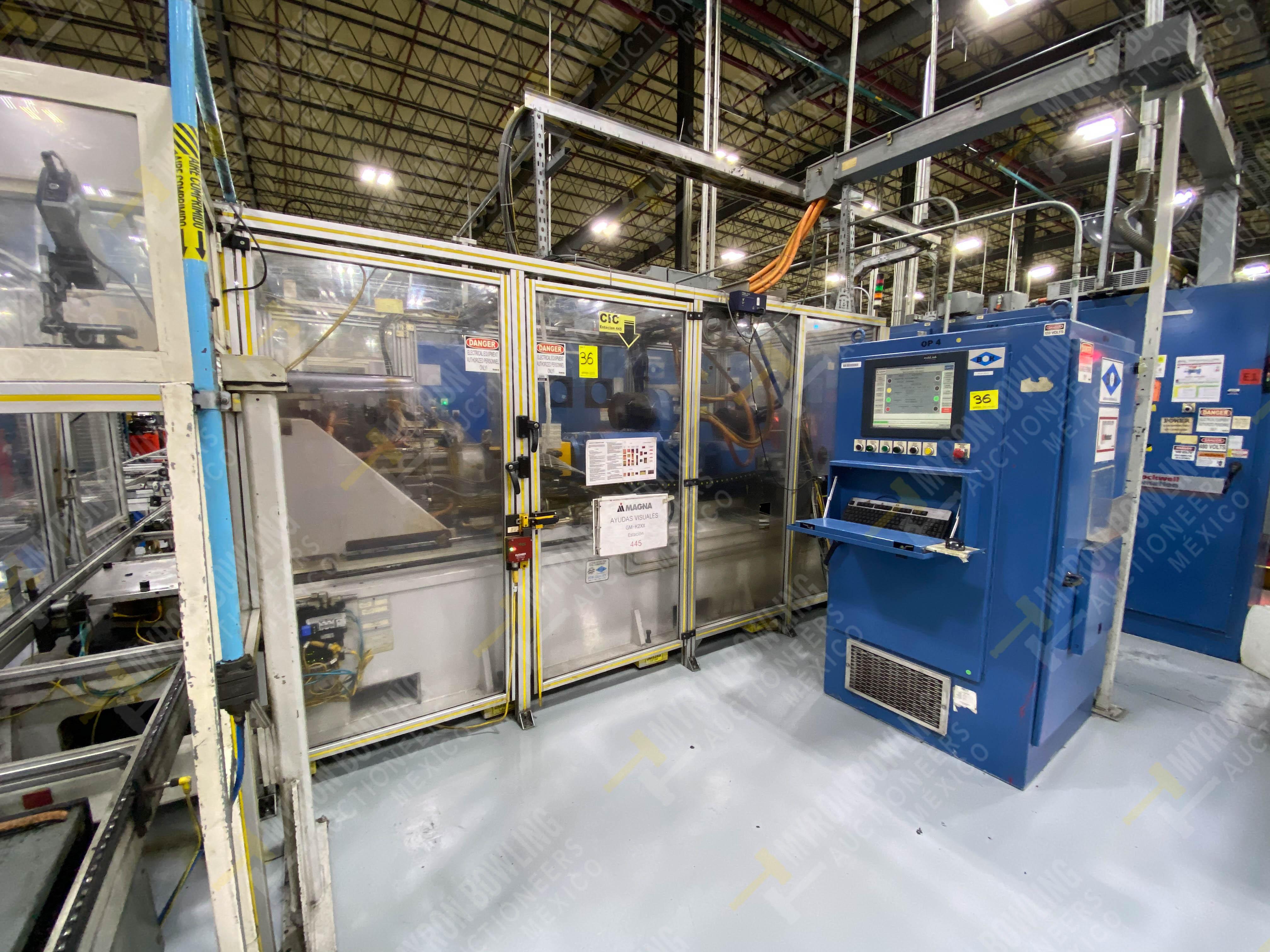 Estación semiautomática para operación 445, contiene: Máquina dinamómetro con sistema de revolución