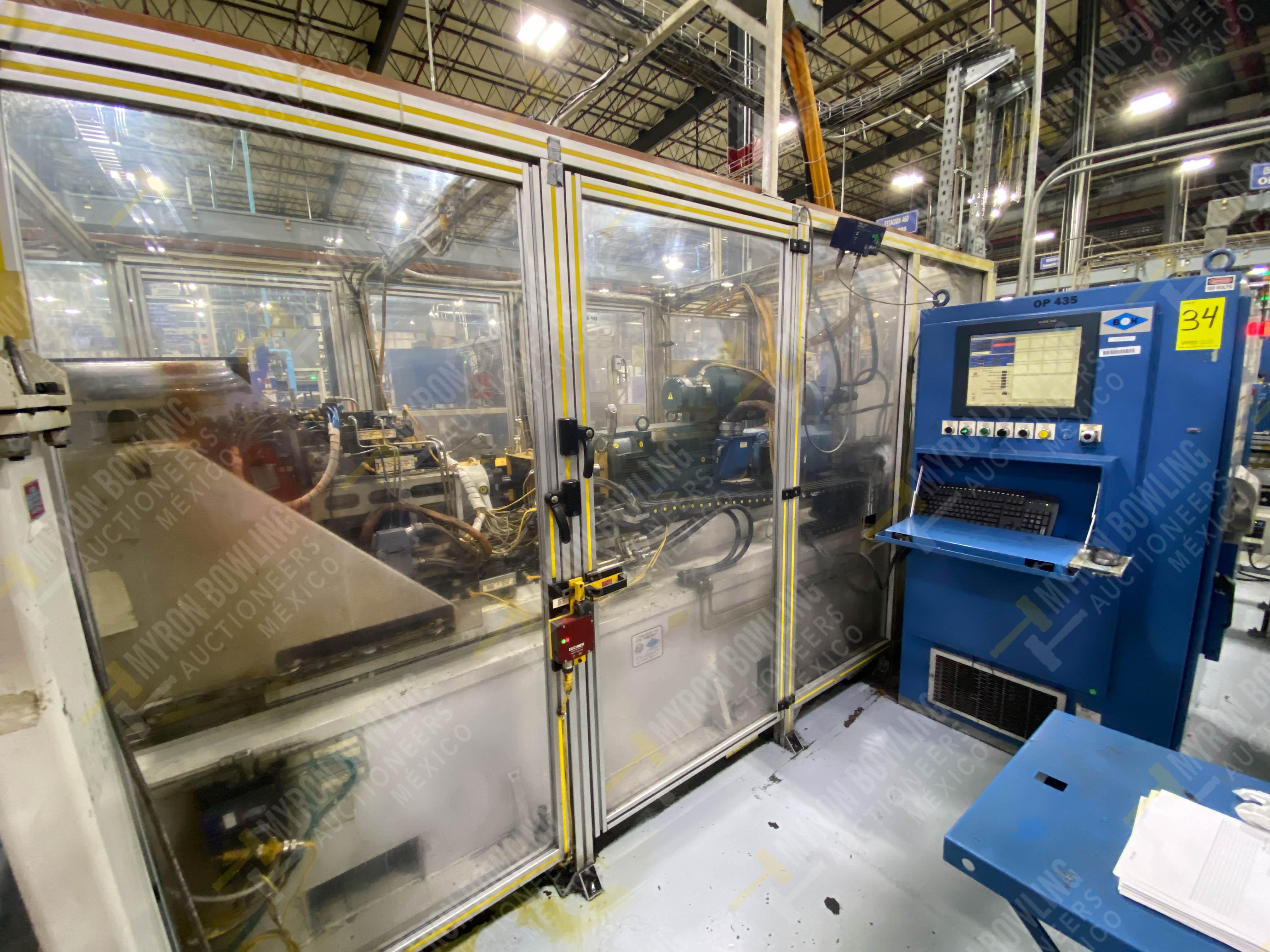 Estación semiautomática para operación 435, contiene: Máquina dinamómetro con sistema de revolución