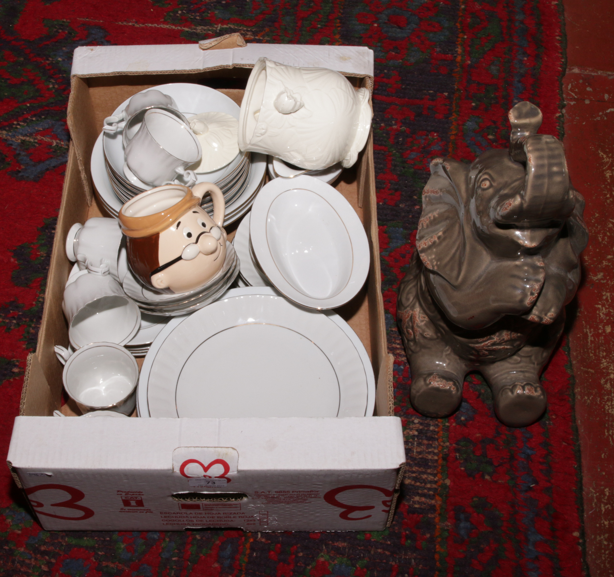 Lot 73 - A box of miscellaneous to include Excelsior dinnerwares, Royal Winton, ceramic figure of an elephant