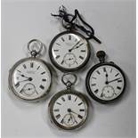 A silver cased keywind open-faced gentleman's pocket watch, the gilt lever movement detailed 'H.