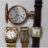 An Omega Megaquartz 32 Khz gilt metal and steel backed gentleman's bracelet wristwatch, the movement