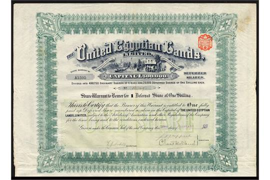 United Egyptian Lands Ltd a good group of bearer certificates – Example of Share Certificate