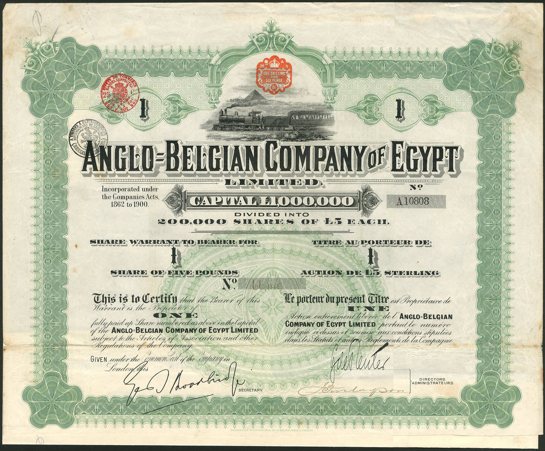 Example of share certificate canada indemnity for lost share example of share certificate anglobelgian company of egypt ltd a group of certificates 65 yadclub Choice Image