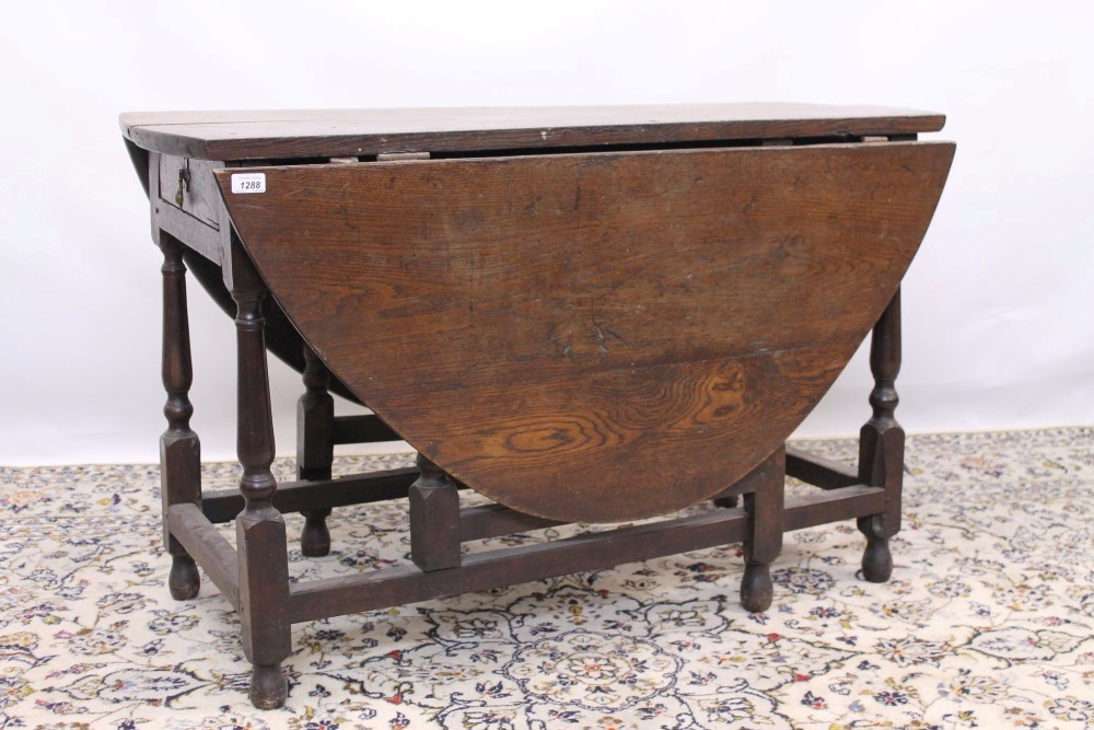 18th century oak oval gateleg dining table with end drawer on turned and block legs joined by st - Gateleg table with drawers ...