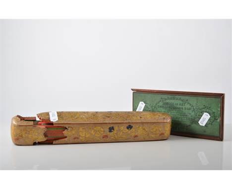 Persian painted papier mache pen box, length 24cm, Philips' Planisphere School of Art Shilling Colour Box, Bezique game, visi