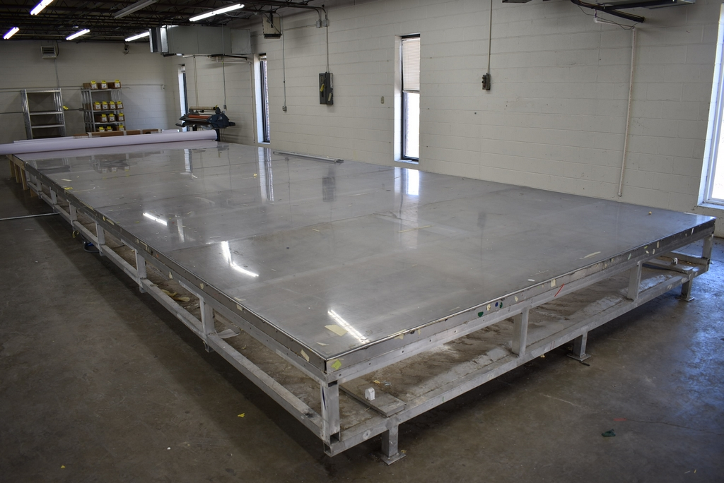 LARGE ALUMINUM FRAMED LAYOUT LIGHT TABLE, 28' X 12', MAY HAVE TO CUT DOWN TO GET THRU DOOR
