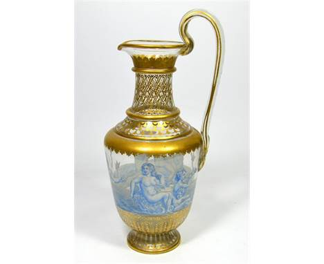 A Lobmeyr 'Triton' Decanter, gilded and enamelled ewer from the Triton series, painted in blue and white enamels with Venus,