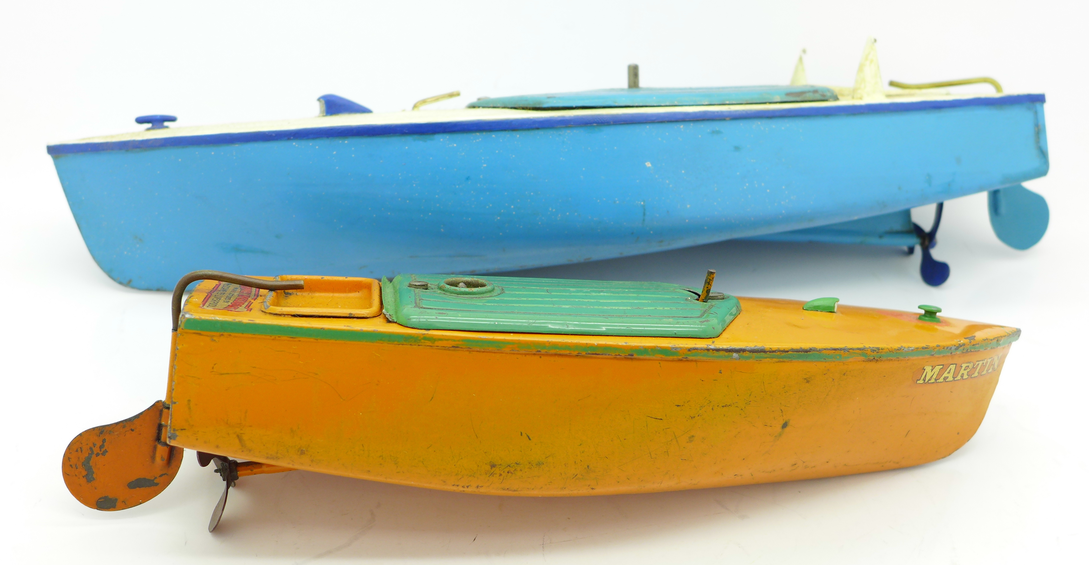 Lot 624 - Two Hornby pre-war speedboats,