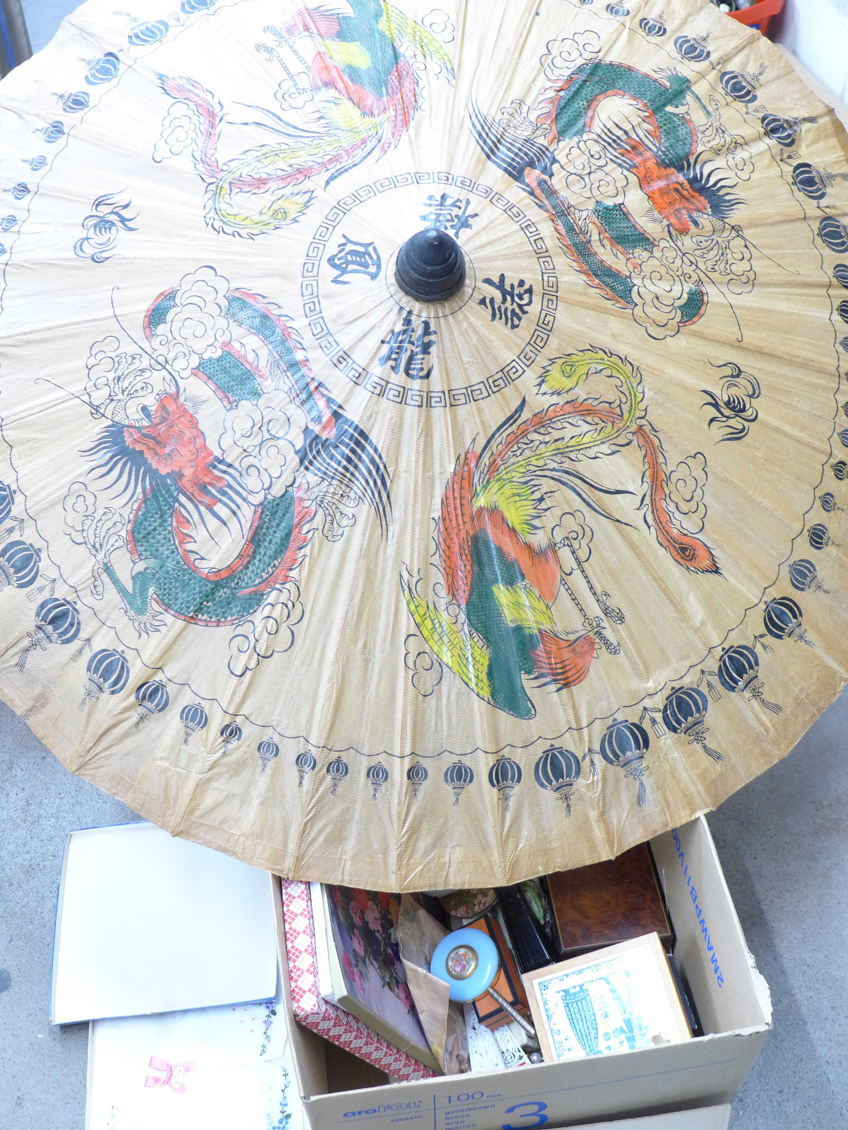 Lot 700 - Costume jewellery, parasol, fans, hand mirrors, boxed handkerchiefs, small glass animals, etc.