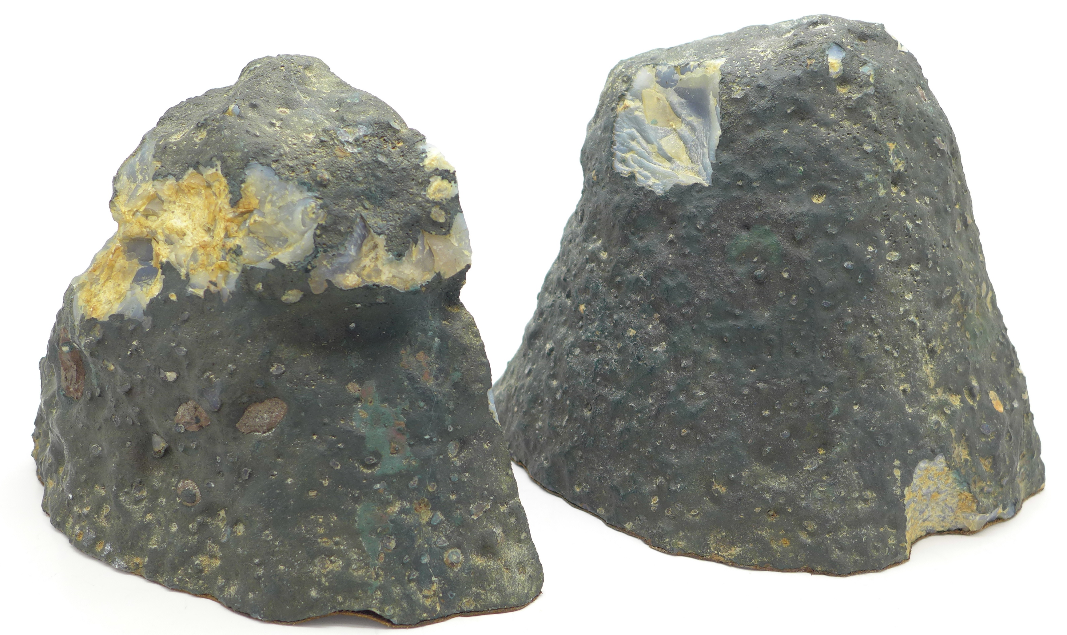 Lot 673 - A pair of mineral sample geode bookends, 5.