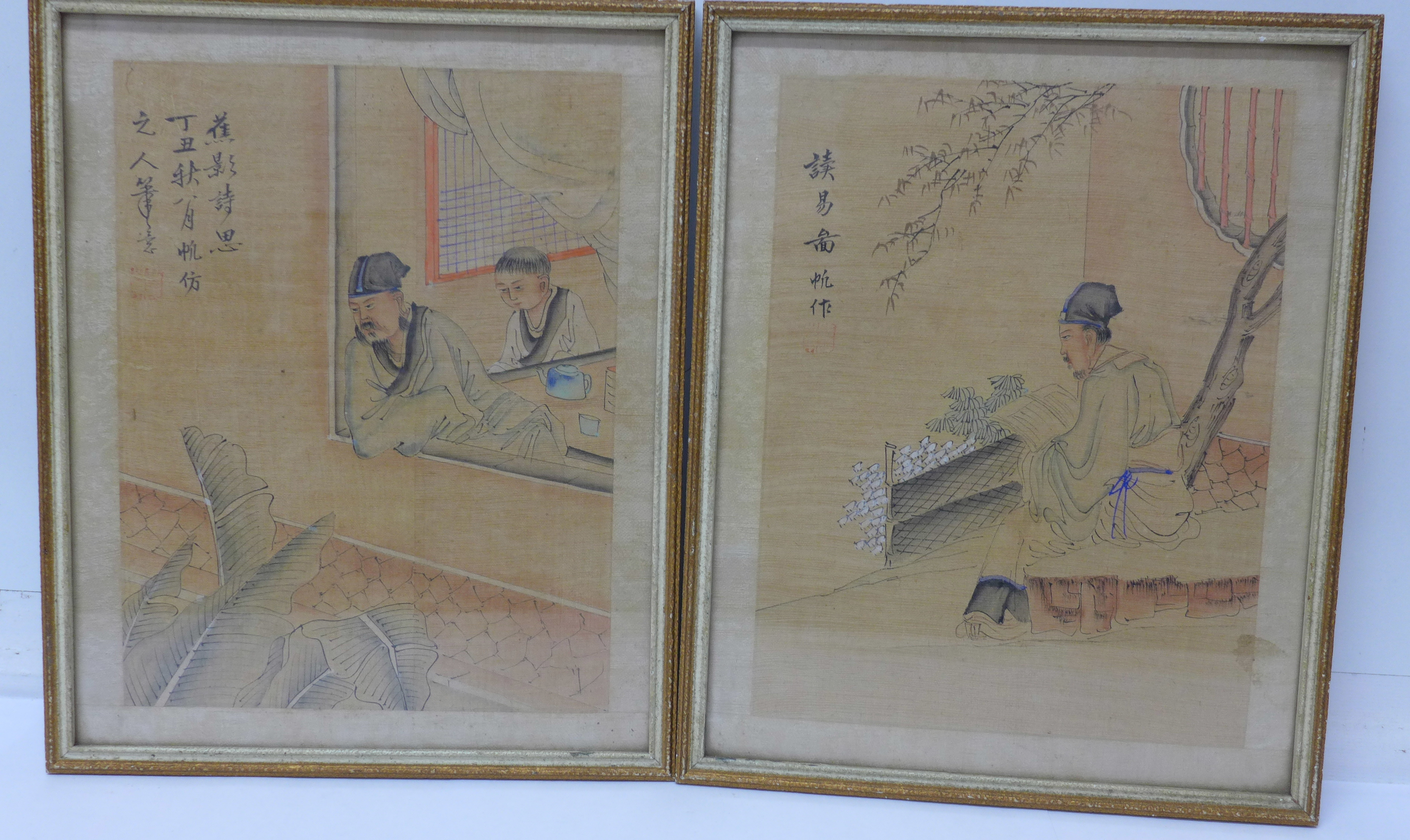 Lot 669 - Two framed Japanese pen and ink watercolours,