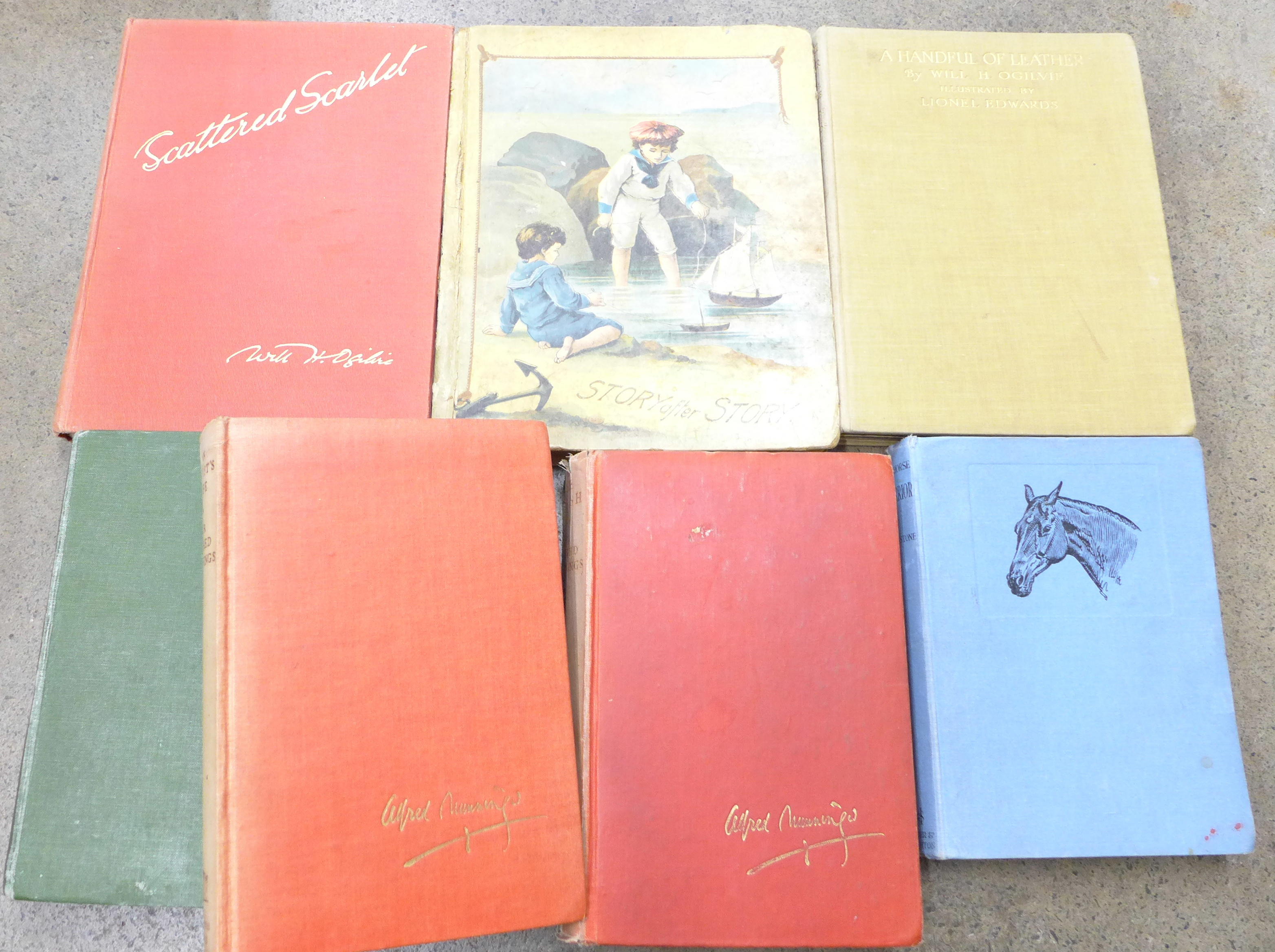 Lot 690 - Seven volumes;- Sir Alfred Munnings The Second Burst, The Finish and An Artist's Life,
