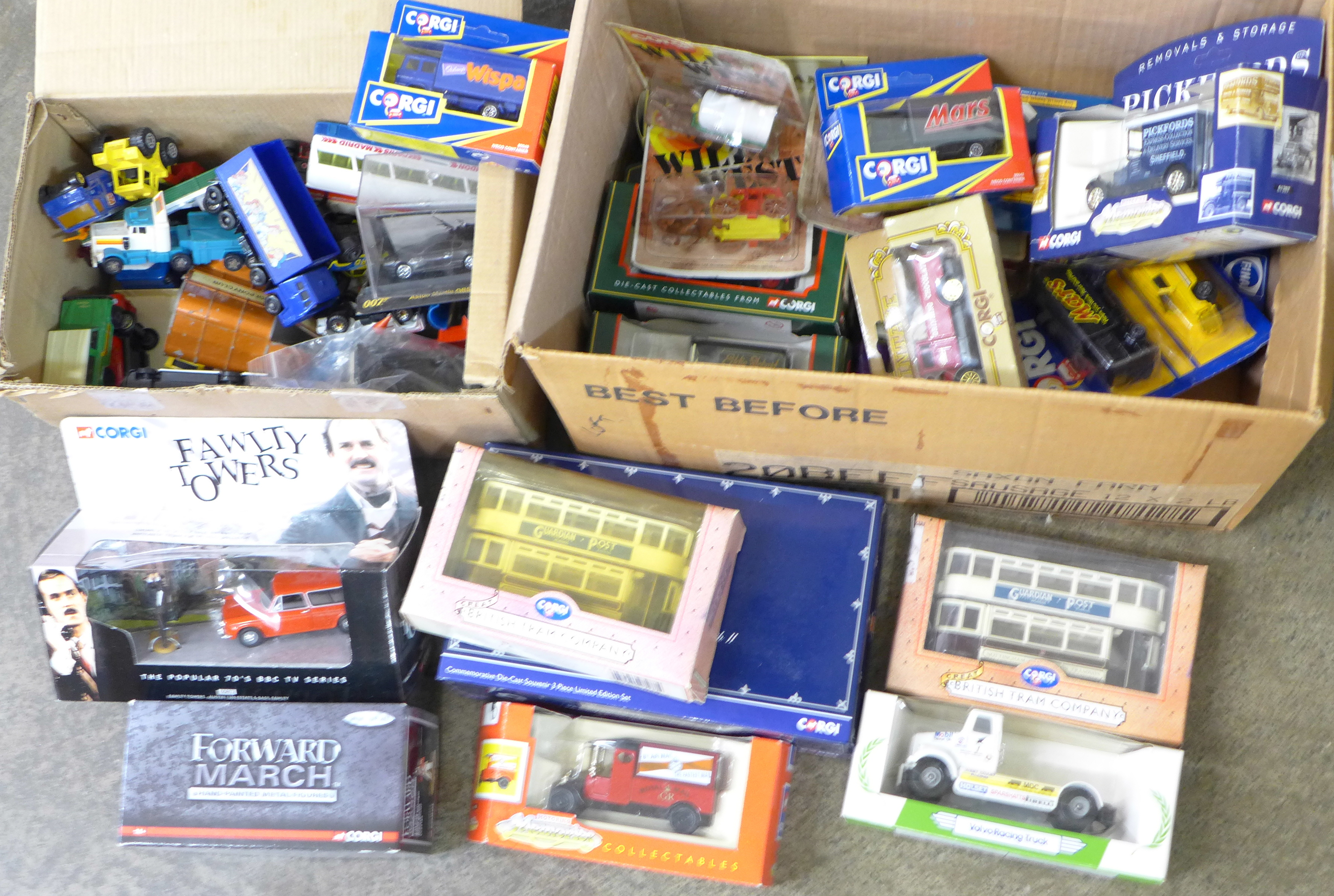 Lot 694 - Two boxes of die-cast vehicles including Corgi Fawlty Towers,