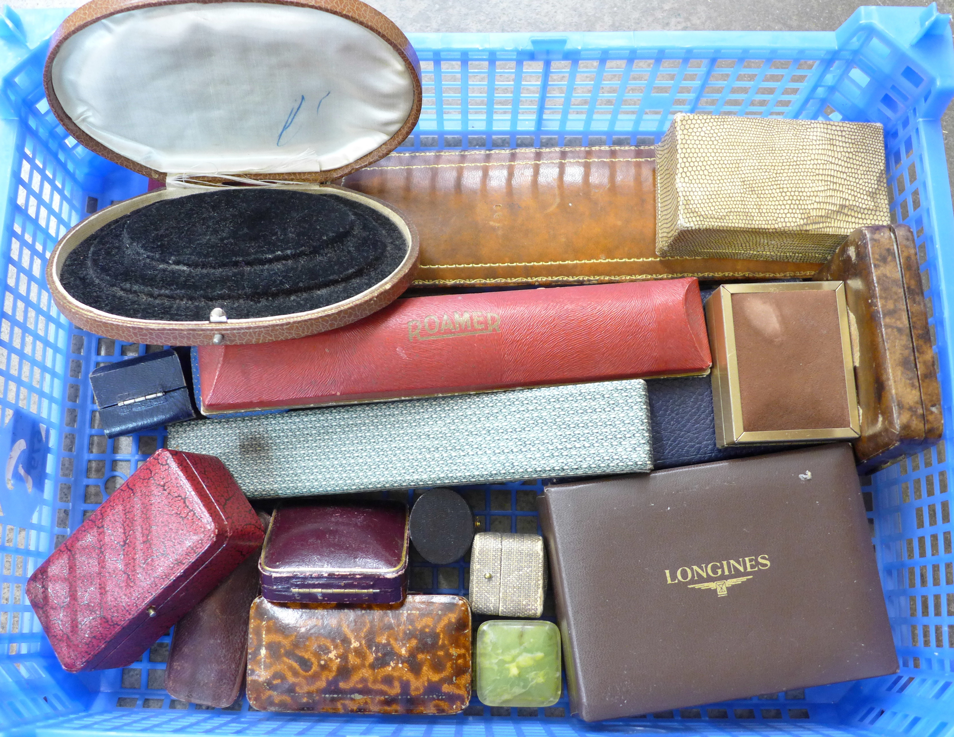 Lot 679 - Vintage jewellery boxes and watch boxes including Longines and Roamer