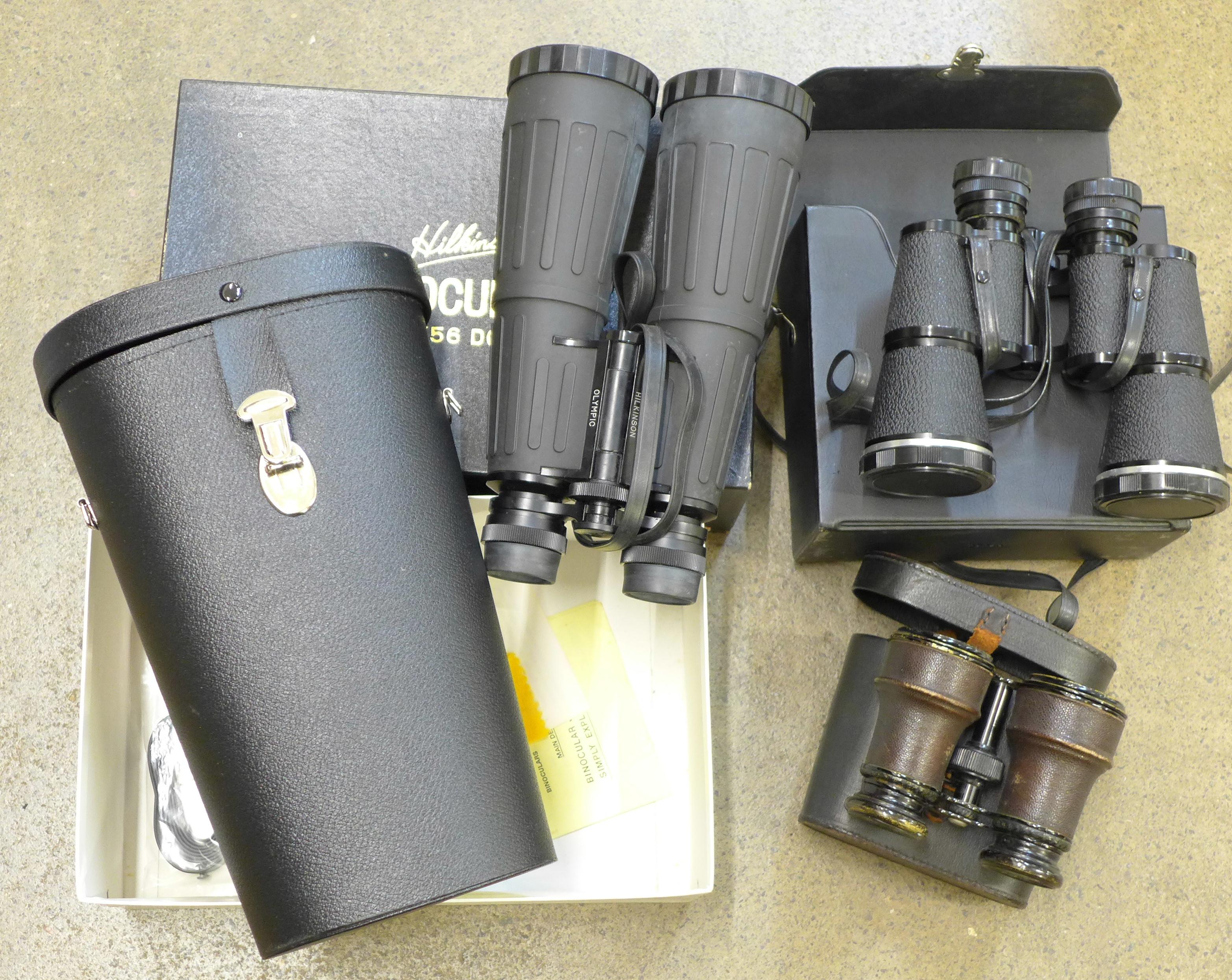 Lot 644 - Three pairs of binoculars including 8 x 56
